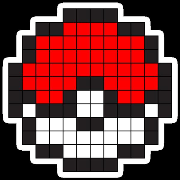 "Bit Pokéball"" Stickers by pikadru | Redbubble: www.redbubble.com/people/pikadru/works/10371951-8-bit-pok-ball?p..."