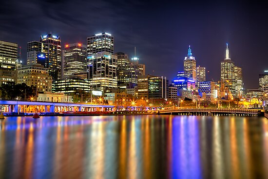 Melbourne Skyline Reflections by renekisselbach