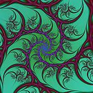 Red on Turquoise Spiral by Objowl