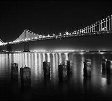 SF Bay Bridge Illuminated BW by Jenn Ramirez