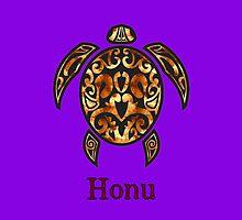 Gold Hawaiian Sea Turtle on Royal Purple by pjwuebker