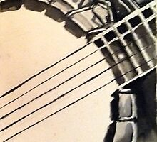 Watercolor black and white banjo approved by Earl Scruggs by smlong929