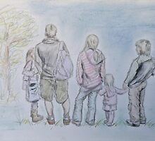 Family Walk by Lesley Rowe