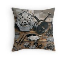 """Brough Superior """"Two of everything"""" Engine Throw Pillow"""