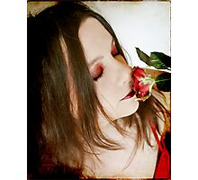 Smelling the rose of life Photographic Print