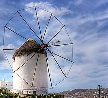 Thatched Windmill on Mykonos by Tom Gomez