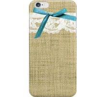 girly burlap and lace with blue bow iPhone Case/Skin