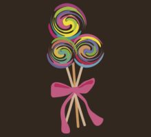 giant swirly lollipops candy bow t-shirt by BigMRanch