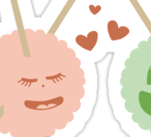 Cute kawaii fluffy yarn balls in love Sticker