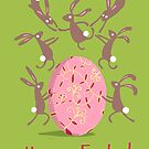 ACROBATIC EASTER BUNNIES, GREEN by Jane Newland