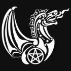 Pentacle Dragon 2 (white) by JBonnetteArt
