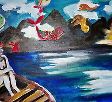 Woman sailing on a boat in a fish filled sky by Kaylin watchorn