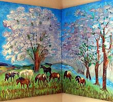Corner Diptych Spring and Horses by vtarcau