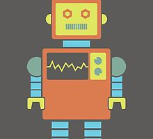 Robot graphic (Orange & blue on gray) by janna barrett
