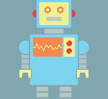 Robot graphic (Primary colors on blue) by janna barrett