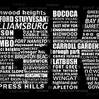 Typographic BK Brooklyn New York by icoNYC
