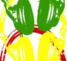 Rasta Colors Head Phones Stencil Style Sticker
