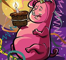 Cartoon Fat Little Birthday Pig vector illustration by martyee