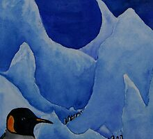 Penguins and Icebergs by Mike HobsoN