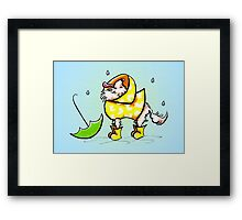 Longhair Chihuahua Fun with Raindrops Off-Leash Art™ Framed Print