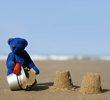 Blue Bear's day at the beach!  8 x 10 inch by Kerry McQuaid