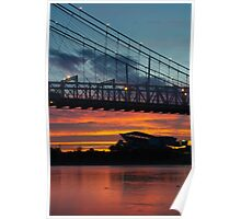 Sunset Under Roebling Bridge Poster