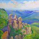 Three Sisters Echo Point, Blue Mountians NSW. by Virginia McGowan