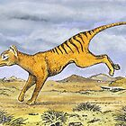 Thylacine running on Christmas day by SnakeArtist