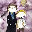 Sherlock and John and a yellow smile balloon by Bantambb