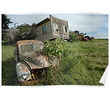 Derelict Morris and old truck on an abandoned farm Poster