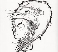 Lion Queen Line Drawing.  by Aliesha Larson
