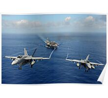Two F/A-18E Super Hornets from the Tophatters of Strike Fighter Squadron (VFA) 14 Poster