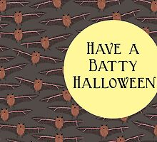 Bats Flying by Moon Halloween Card, Have a Batty Halloween by Amy Hadden
