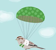 Bird with Broken Wing Parachuting by Amy Hadden