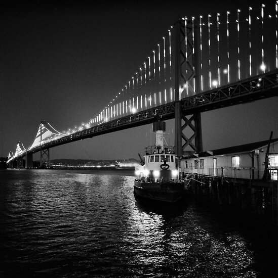 Bay Bridge illuminated by the Bay Lights Project by Rodney Johnson