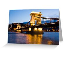 The Chain Bridge in Budapest lit by the street lights Greeting Card
