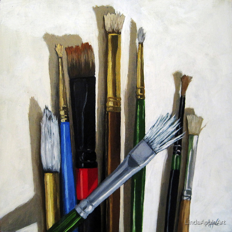 Artists Brushes still life oil painting by LindaAppleArt