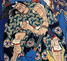 Kusunoki Tamonmaru and Yao no Betto Tsunehisa (Katsushika Hokusai Art Reproduction) by Roz Barron Abellera
