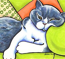 Cozy Spot - Bicolor British Shorthair by offleashart