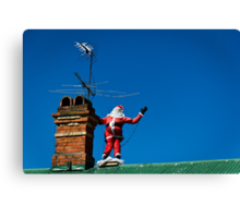 Santa on roof - greeting card Canvas Print