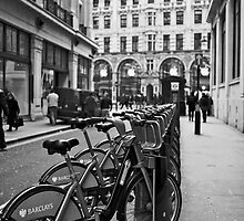 Boris bikes London by Alex Lagarejos