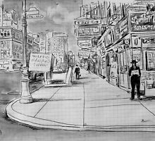 street scene study after a historical photograph by Loui  Jover
