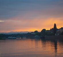 Sunset on The Mosel River by Cathy Jones