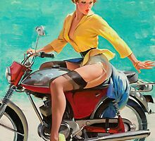 Motorcycle Pinup Girl by TilenHrovatic