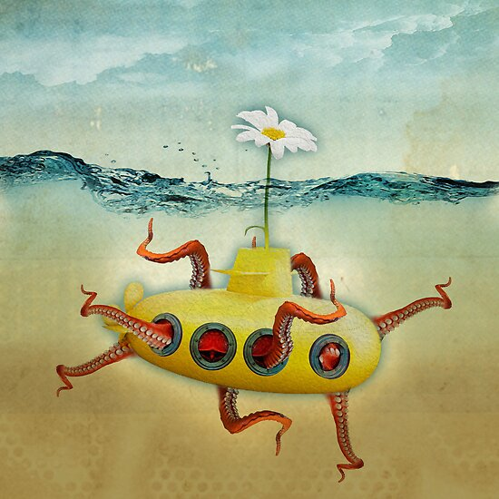 yellow submarine in an octapuses garden by vinpez