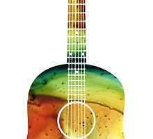 Acoustic Guitar - Colorful Abstract Musical Instrument by Sharon Cummings by Sharon Cummings
