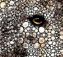 Stone Rock'd Wolf Art by Sharon Cummings by Sharon Cummings