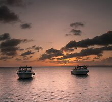 Dive boat sunset by Ralph Goldsmith