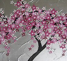 pink cherry blossom tree from Japan with silver and white by cathyjacobs