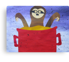 Sloth in a broth- Animal Rhymes - created from recycled math books Canvas Print